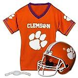 Franklin Sports Clemson Tigers Kids College Football Uniform Set - NCAA Youth Football Uniform Costume - Helmet, Jersey, Chinstrap Set - Youth M