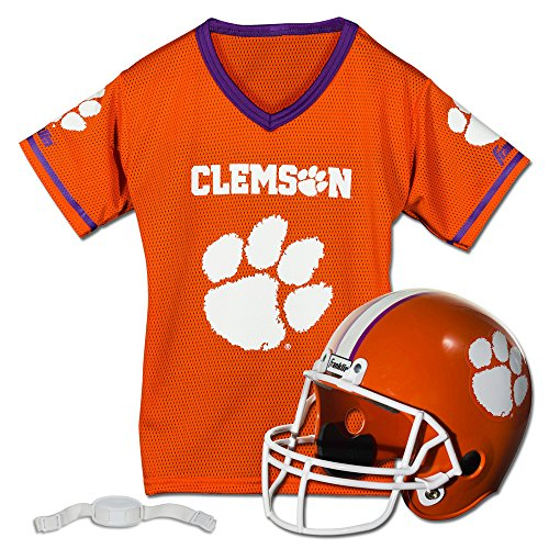Franklin Sports Clemson Tigers Kids College Football Uniform Set - NCAA Youth Football Uniform Costume - Helmet, Jersey, Chinstrap Set - Youth M
