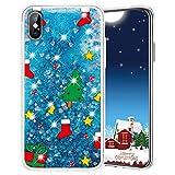 Misstars Weihnachten Handyhülle für iPhone X, 3D Kreativ Glitzer Flüssig Transparent Weich TPU + PC Bumper mit Weihnachtsbaum Muster Design Anti-kratzt Schutzhülle für iPhone X/XS / 10 (5,8')