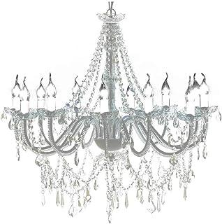 Lámpara de techo de cristal, lámpara de araña con 1600 cristales de color blanco lámpara colgante de iluminación para el hogar hotel