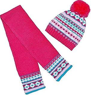 Build A Bear Fuchsia Pink Fair Isle Knit Hat Scarf Set Teddy Stuffed Animal Size Accessories