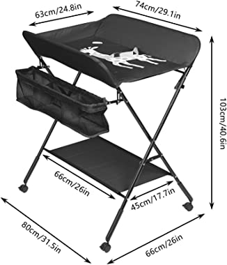 Baby Changing Table,4HOMART YVONNE&F.L.A.M. Foldable Infant Care Station with Wheels Nursery Infant Dresser Storage Unit