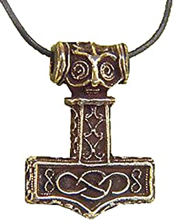Thor's Hammer Necklace Pewter Pendant with Bronze Patina Viking Mjollnir Odin