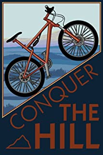 Conquer the Hill - Mountain Bike (24x36 Giclee Gallery Print, Wall Decor Travel Poster)