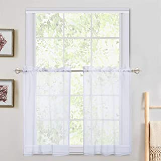 Haperlare White Sheer Curtain Tiers, Rod Pocket Sheer Kitchen Curtains Half Window Valances Semitransparent Voile Panel Drapes for Kitchen/Cafe - 27