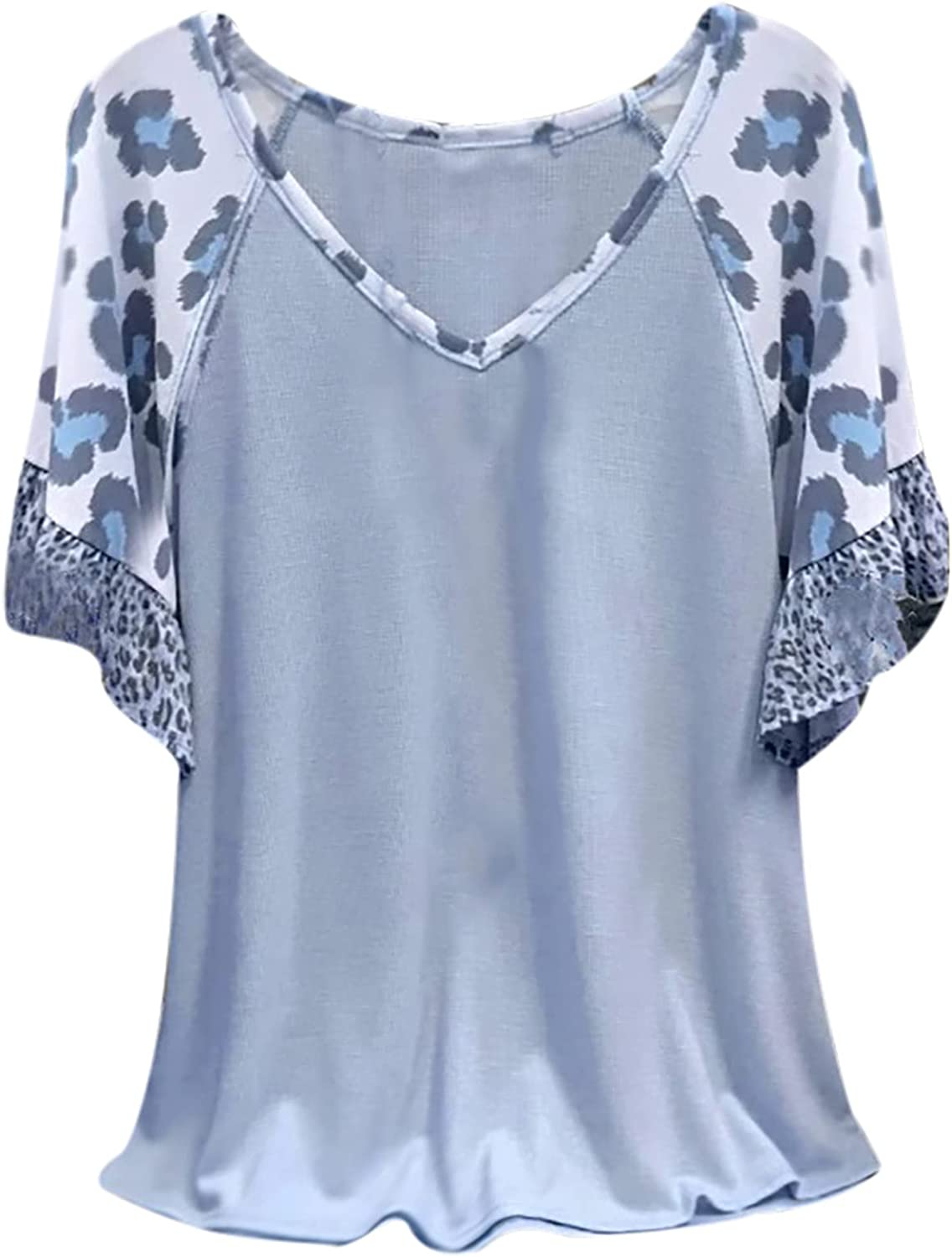 Flowy Tops for Women V Neck Flare Short Sleeve Tunic Dressy Blouses Casual Leopard Patchwork Loose Tshirts Plus Size Pullover