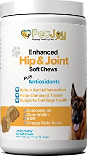 PetJoy Complete Hip and Joint Care Health Daily Soft Chews Key Ingredients Glucosamine HCI, MSM, Chondroitin Sulfate to Repair and Restore Hip and Joint Tissue