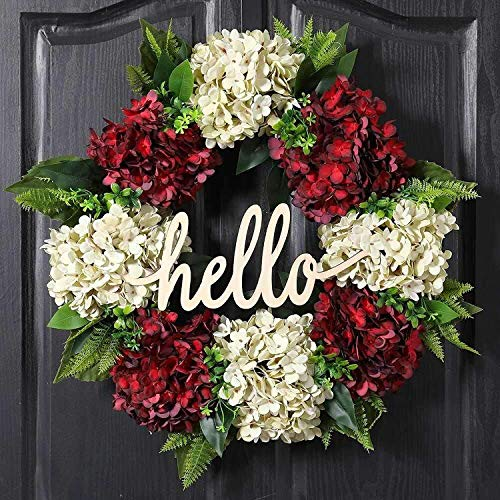 QUNWREATH Wreath for Front Door Spring Summer Wreath Red White Hydrangea Wreath 18 Inch Handmade Wreath Hello Wreath Farmhouse Wreath Grapevine Wreath Rustic Wreath