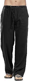 AUDATE Men's Trousers Cotton Linen Trouser Casual Lightweight Drawstring Yoga Beach Pant