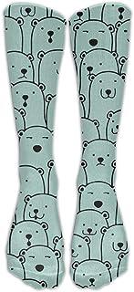 N / A, Polar Bear Faces Crew Sock Crazy Socks Tube Calcetines altos Novedad Divertida Luz delgada para adolescentes Niños Niñas 50 cm / 19.7 pulgadas