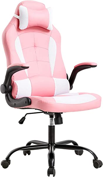 High Back Gaming Chair Racing Office Chair Computer Desk Chair Executive PU Leather Rolling Swivel Chair With Lumbar Support Adjustable Stool Flip UP Arms Chair For Back Pain Pink