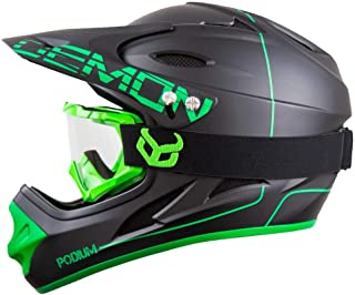 Demon United Podium Black/Green Full Face Mountain Bike Helmet- BMX Helmet- with Demon Viper MTB Goggles- 3 Goggle Color Options Available