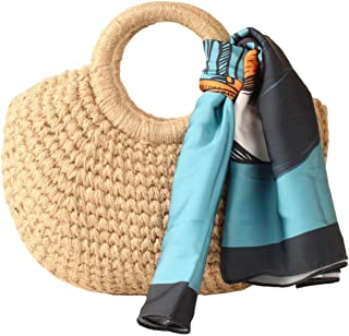 Handmade Beige Woven Bag + Baby Blue Tropical Scarf