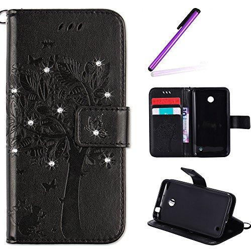 EMAXELERS Nokia Lumia 630 Hülle PU Lederhülle Bookstyle Handyhülle Flip Glitzer Asche Brieftasche Bumper mit Kartenfächer Wallet Tasche Etui für Nokia Lumia 630/635,Diamond Black Wishing Tree