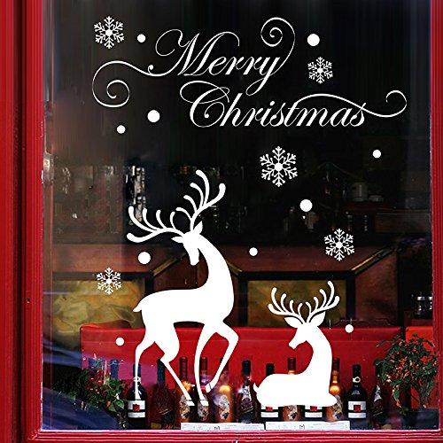 VHVCX Pegatinas De Navidad Renos Ventana De Compras Navideñas Adhesivos De Pared De Tienda De Pegatinas De Las Puertas De Cristal Rejas De Las Ventanas Decoraciones Copo De Nieve