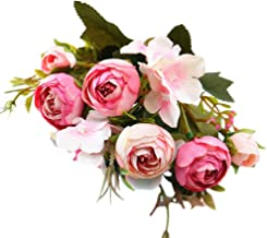 Togethor Fake Flowers Vintage Artificial Peony Silk Flowers Bouquet Home Decoration, Pack of 1 for Office Parties and Bridal Wedding Party Festival Bar Decor