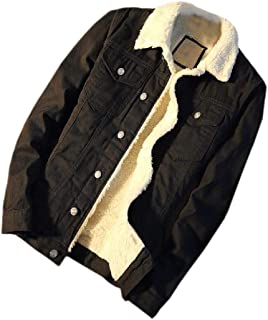 Men's Sherpa Lined Denim Jacket Trucker Jackets Quilted Jeans Coats Outerwear
