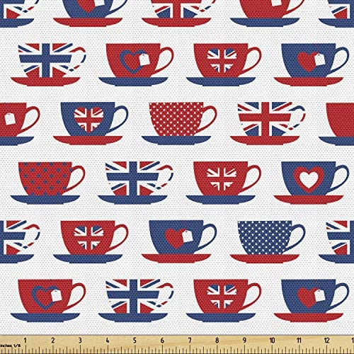 Ambesonne Tea Party Fabric by The Yard Britain Themed Teacup Forms Patterned Union Jack Hearts product image