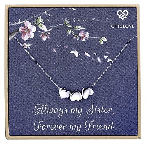 CHICLOVE Kleines Herz Halskette, DREI Schwester Geschenk, Geschenk für Beste Freundin, zierliche Herz Halskette, zarte Halskette, Brautjungfer Geschenk,