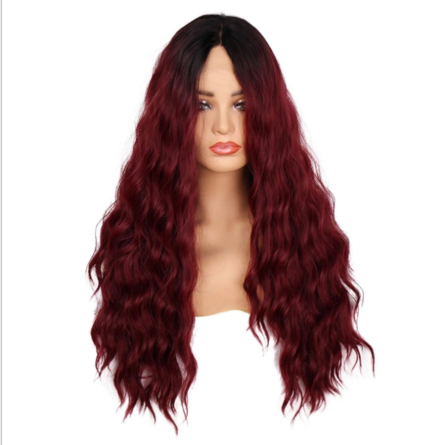 アヒル最後にピッチYESONEEP 女性のための24インチロングカーリーウィッグフルハンド織レースフロントワインレッドヘアー高温シルク人工毛ミッドポイント付き前髪かつら髪耐熱複合毛レースのかつらロールプレイングかつら (色 : Red wine)