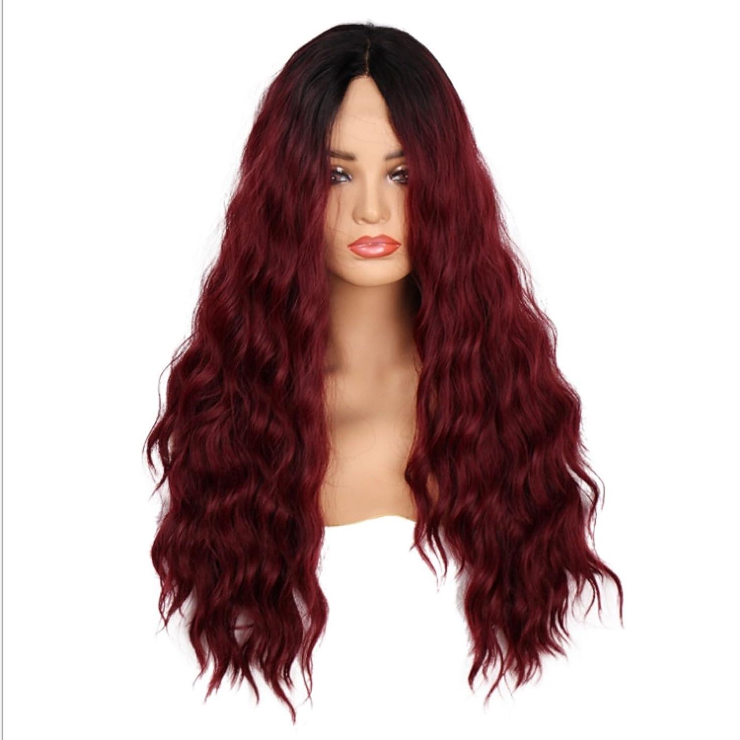 離れたモンククックYESONEEP 女性のための24インチロングカーリーウィッグフルハンド織レースフロントワインレッドヘアー高温シルク人工毛ミッドポイント付き前髪かつら髪耐熱複合毛レースのかつらロールプレイングかつら (色 : Red wine)