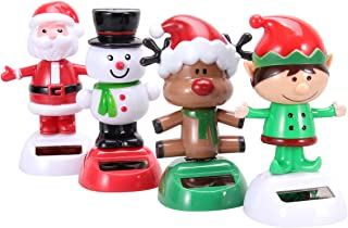 Amosfun 4pcs Solar Dancing Toys Bobble Head Toy Christmas Santa Claus Snowman Deer Man Elf Dancing Figure Toy Car Dashboard Decorations Ornaments Christmas Party Supplies Favors