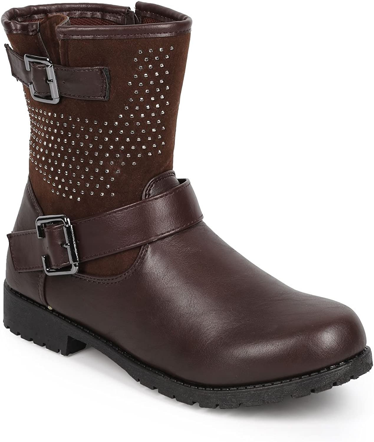 Bumper DB24 Women Leatherette Round Toe Strappy Stud Motorcycle Boot - Brown
