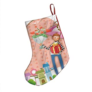 Ernest Congreve Boy with Gifts Waiting for Bus Christmas Stockings Personalized Fireplace Hanging Plush Large Stocking Decorations for Family Xmas Holiday Season Party Decor Accessory 18 inch