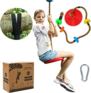MoloTAR Tree Climbing Rope with Platforms and Kids Disc Swing Seat Set Outdoor Backyard Playground Accessories Including Bonus Hanging Strap & Carabiner