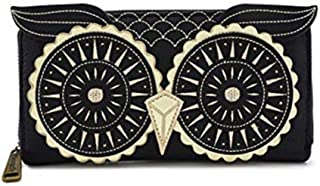 Loungefly OWL Faux Leather Zip Around Wallet in Black and Gold