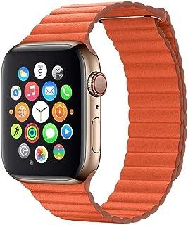 Apple Watch Kordon 38 mm / 40 mm Seri 1 2 3 4 5 Deri Loop (Turuncu)