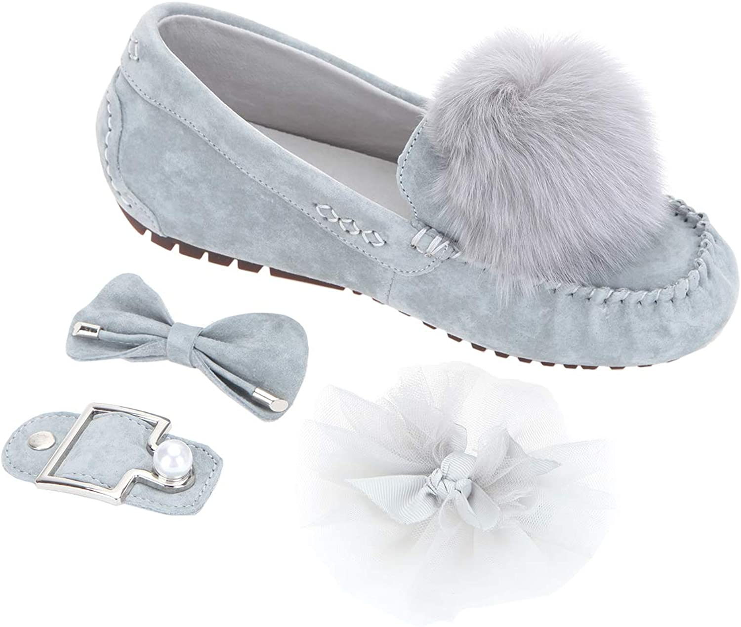 Bonjanvye Pom Pom Bow Pigskin Moccasins Slippers Include 4 Changeable Decorations