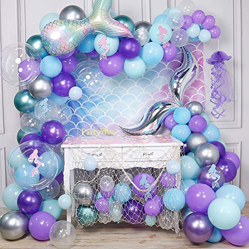 PartyWoo Mermaid Balloons Garland Kit, 180pcs Mermaid Backdrop, Mermaid Tail Balloons, Mermaid Stickers, Paper Jellyfish, Giant Bobo Balloons, Green Silver Purple Metallic Balloons, Blue Mint Balloons