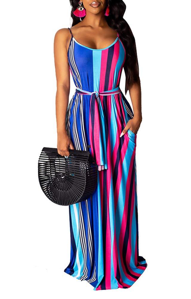 Available at Amazon: Women's Summer Flowy Spaghetti Strap Striped Maxi Dress Boho Beach Sleeveless Plus Size Sundresses
