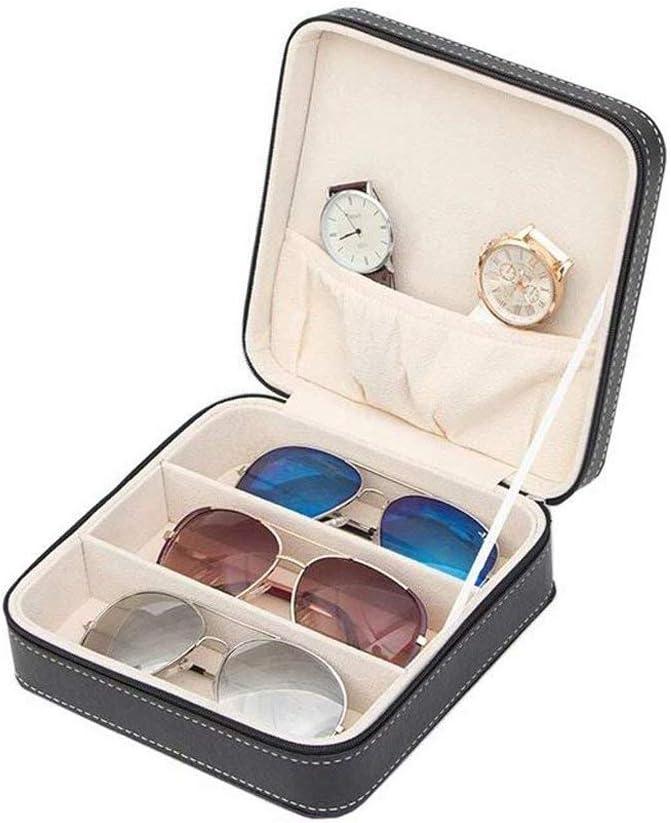 XelparucTS Organizador de gafas de sol de viaje con 3 ranuras – caja de almacenamiento de joyas de piel sintética