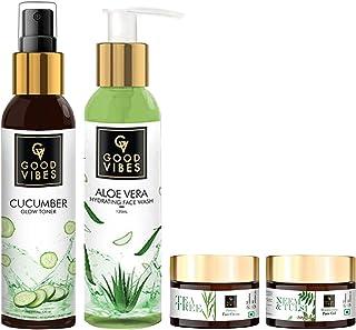 Good Vibes Skin Care Combo (Set of 4) - Aloe Vera Face Wash, Cucumber Toner, Neem & Tulsi Gel, Tea Tree Face Cream, Suited...