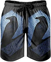 Gamoii Zwembroek voor heren, beachshorts, Viking, Odin, kraaien, raven, boardshort, klassiek patroon, print met mesh-voeri...