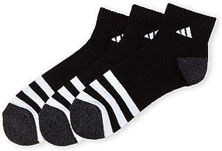 adidas, Men's Athletic Moisture Wicking Cushioned Extra Durable Quarter Socks 3-Pack/ 3-Pair (Shoe Size 6-12) Black/White