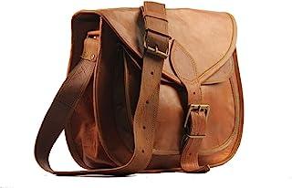 "9"" Women's Real Leather Shoulder Cross Body Satchel Saddle Tablet Retro Rustic Vintage Bag Handbags Purse"