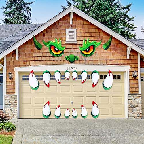 Halloween Monster Face Decorations Outdoor Garage Mad Monster Face Decoration Waterproof Monster Pattern Stickers with Nose Teeth Horns for Door Archway Window Car House Decor