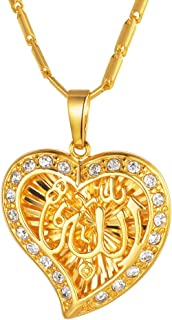 Hand of Fatima/Heart Allah/Evil Eye Pendant Necklace, 925 Sterling Silver/18K Gold/Platinum Plated CZ Crystal Muslim Islam...
