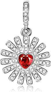 NINAQUEEN Christmas Charms Gifts Glowing Heart 925 Sterling Silver Red Heart Dangle Charms for Necklaces, Ideal Gift for Her Birthday