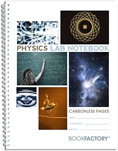 """BookFactory Carbonless Physics Lab Notebook - 75 Sets of Pages (8.5"""" X 11"""") (Duplicator) with Scientific Grid Pages, ..."""