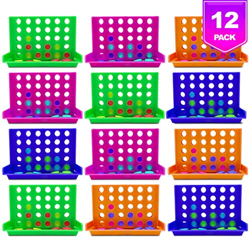 Pixiss Travel Size Miniature 4 in a Row Connect Board Game (12 Pack), Worlds Small 4 Row Connect Game for Gift Bags, Party Favors, Stocking Stuffers