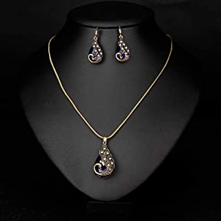 Rhinestones Vintage Gold Plated Necklace Earrings Jewelry Set