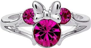 Disney Minnie Mouse, Anello Placcato Argento con Testa di Topolino per Il 90° Compleanno Anniversario, Misura 4
