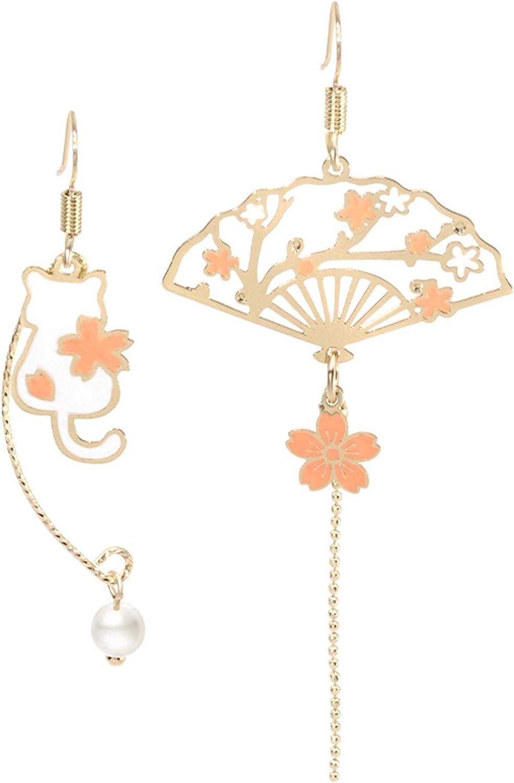 Asymmetric Fan Earrings, Sector Drop Earrings, Small Fan Dangle Earrings Cute Retro Ethnic Pretty Stud Earrings