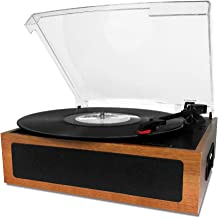 LP&No.1 Vintage Vinyl Record Player with Stereo Speaker,3 Speed Turntable Light Brown