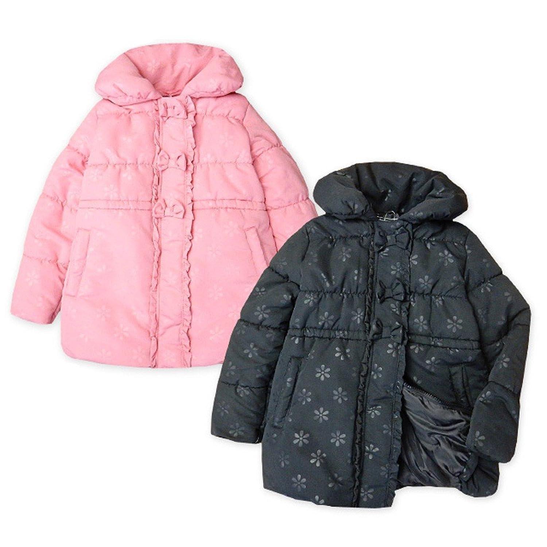 子供服 女の子 アウター フルジップ ハーフ コート 中綿 花柄 ボリュームネック リボン フリル 女児 キッズ