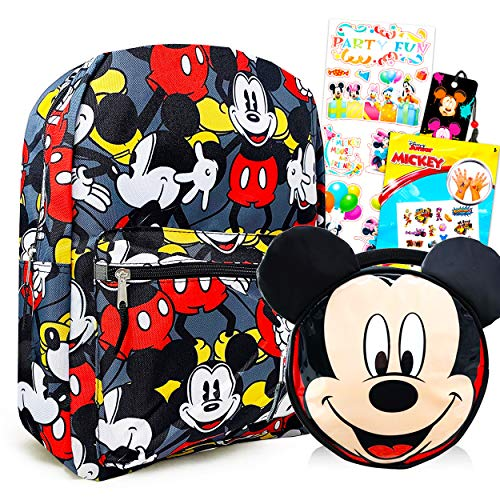 Disney Mickey Mouse School Backpack with Lunch Box Set for Kids Boys Girls - 5 Pc 16' Mickey Backpack, Lunch Bag, Stickers, Tattoos, Bookmark Bundle (Mickey Mouse Party School Supplies)